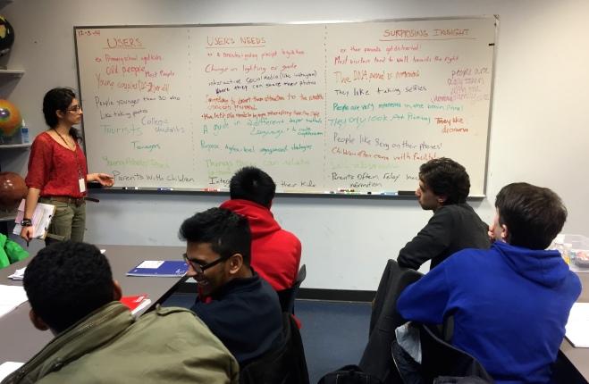 Instructor facilitating POV Madlibs for high school students