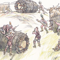 Drawing of Stonehenge builders rolling stones