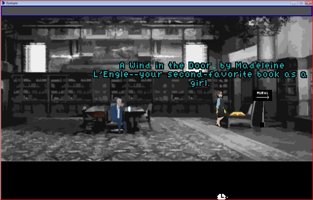 Library interior with protagonist, caretaker, and interactive object