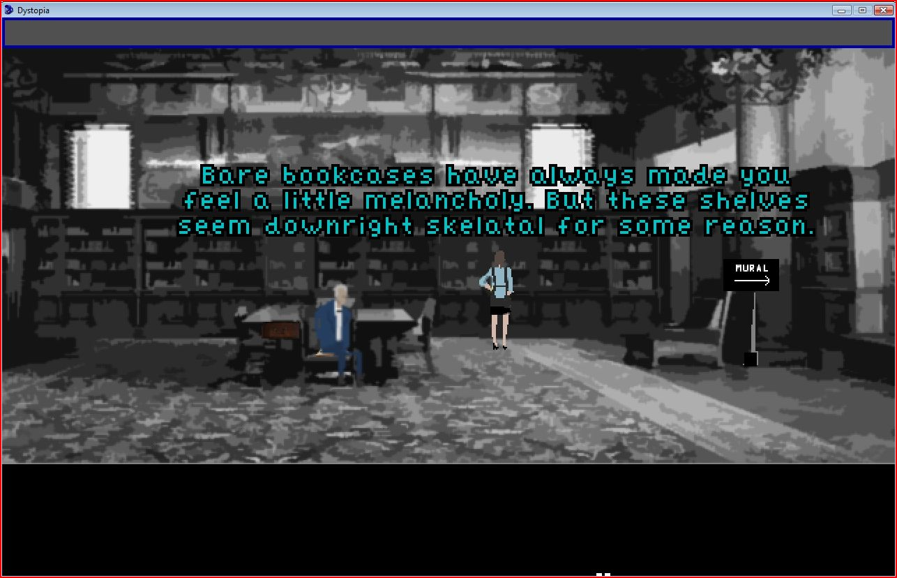 Institute library with protagonist, Caretaker, and protagonist