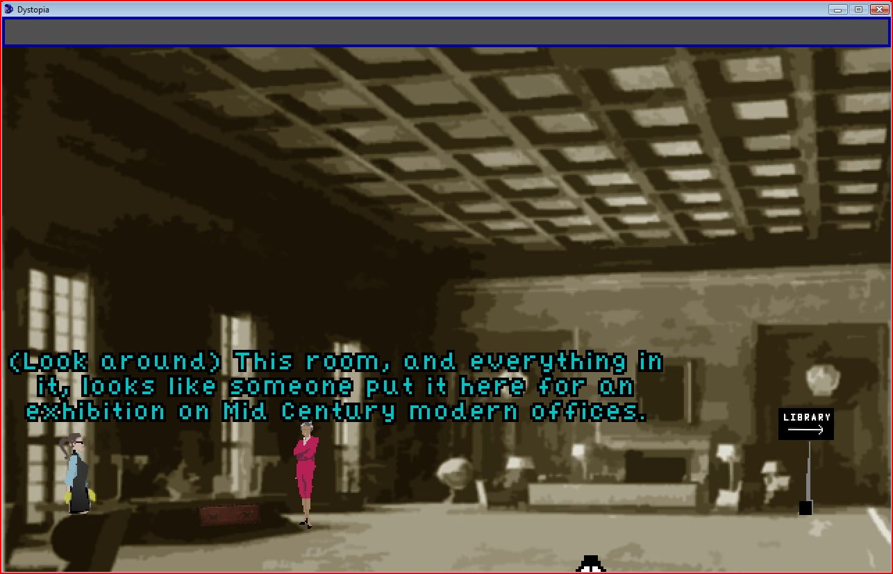 Institute retro-looking lobby and descriptive text, with protagonist and Foundation head