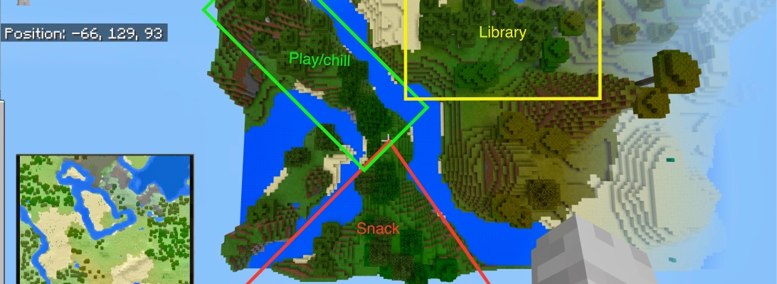 Mapped-out Minecraft world overhead